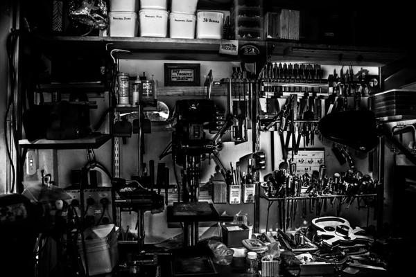 kitting process grayscale photography of metal tools