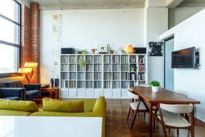 storage units - rectangular brown wooden table