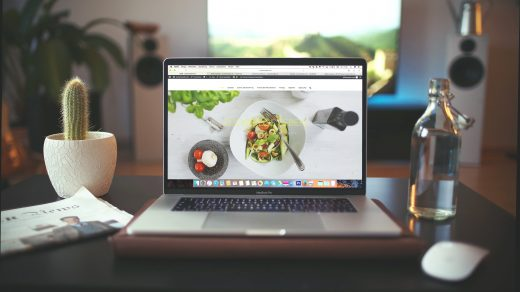 website MacBook Pro showing vegetable dish