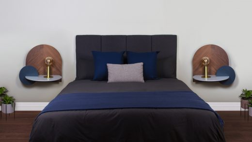 bed frame blue bed linen with pillows