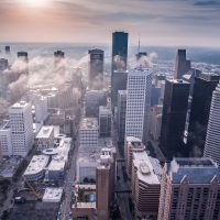 economic outlook white high-rise buildings