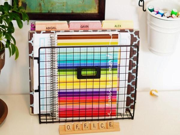 arrange supplies with colors