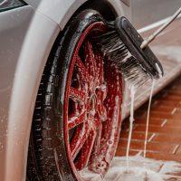 car wash business plan wheel being washed
