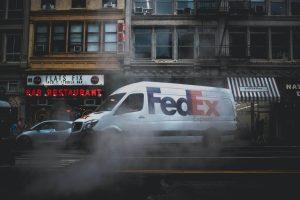 FedEx white and black car