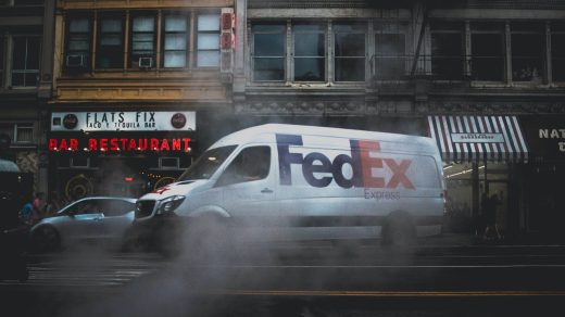 FedEx white and black car