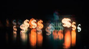 Investment App white and orange bokeh lights