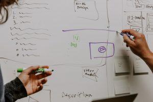 DevOps strategy two people drawing on whiteboard