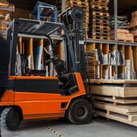 Inventory Management yellow and black fork lift