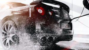 Car Wash grayscale photo of black car