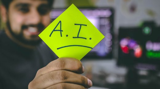 artificial intelligence person holding green paper