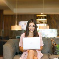 Becoming an Entrepreneur woman using laptop