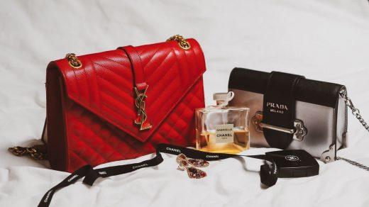 Fake Designer Bags red and black leather handbag